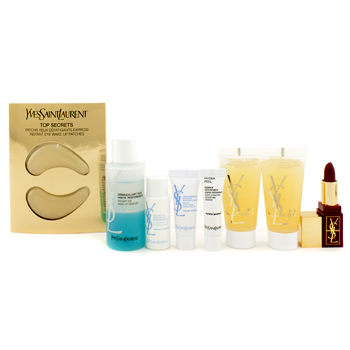 Para a pele da mulher, Yves Saint Laurent, Yves Saint Laurent Skincare Set: Exfoliator 15ml + Remover 30ml + Cleansing Milky 10ml + Foaming Creme 5ml + Detoxifying Essence 3ml + Eye Patchs + Lipstick 1.2