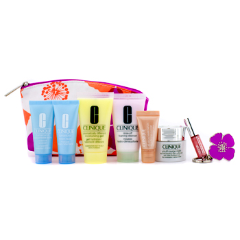 Clinique Travel Set: Cleanser + DDMG + Facial Masque + Turnaround Concentrate + Youth Surge Night Moisturizer + Eye Serum + Glosswear #10 + Bag 7pcs+1bag